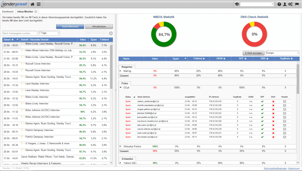 View of the Inbox Monitor module of EQS, the Email Service Quality of senderproof